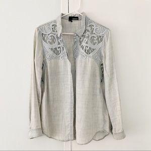 The Kooples Blue Baroque Embroidered Denim Shirt M